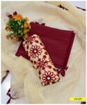 3 PCs Aari Work with Handmade Applique on Lawn Suits with Cotton Net Dupatta - S05-599F