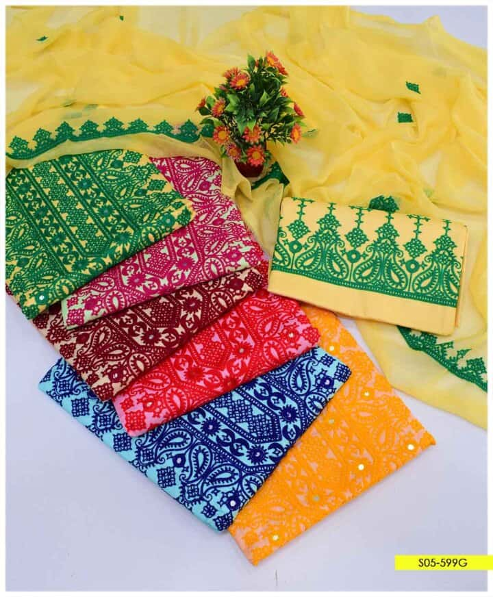 3 PCs Summer Cotton Lawn Computer Embroidered Suits With Chiffon Dupatta - S05-599G