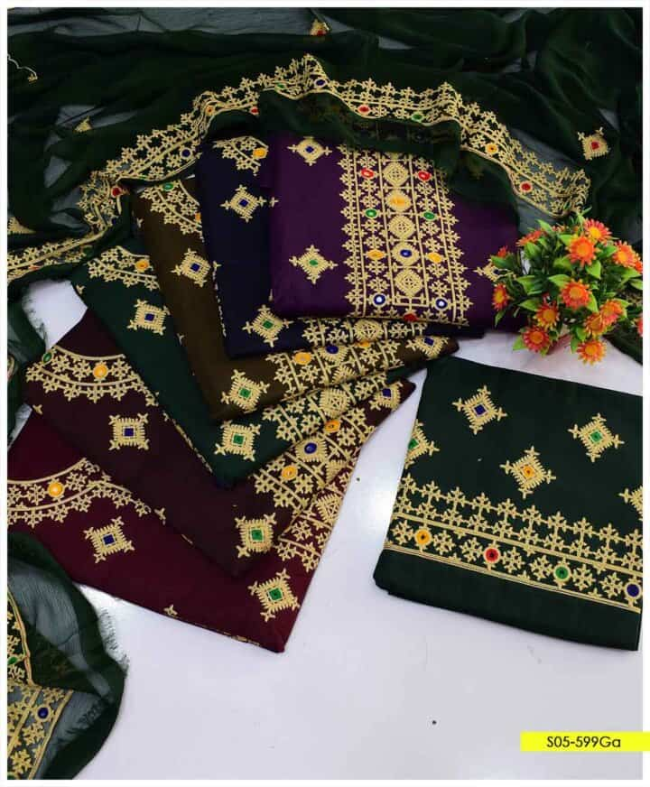 3 PC Beautifully Embroidered Cotton Lawn Summer Suits with Chiffon Dupatta - S05-599Ga