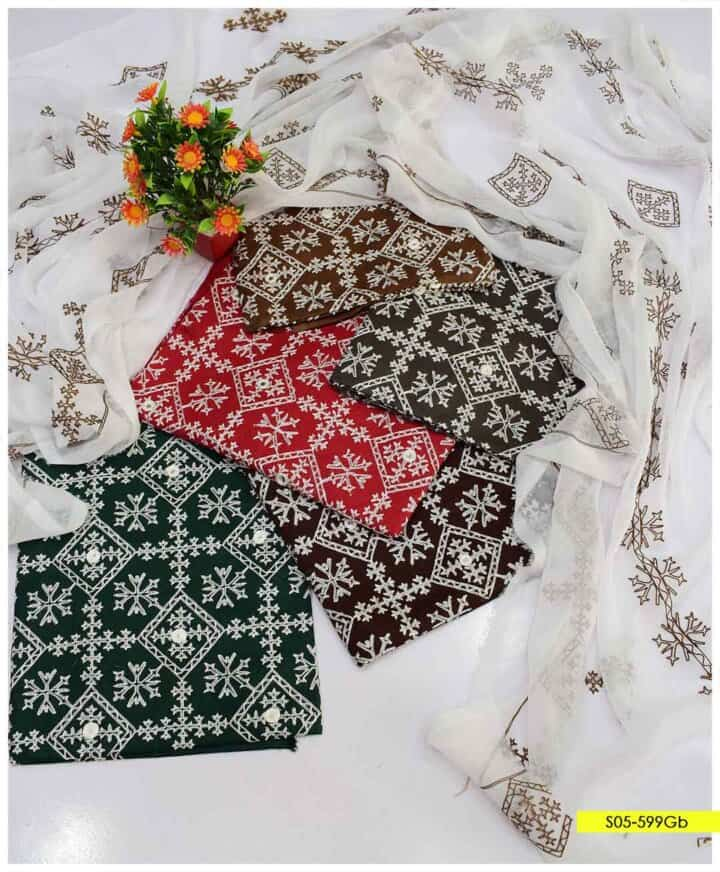 3 PCs Unstitched Computer Embroidered Cotton Lawn Summer Suits with Chiffon Dupatta - S05-599Gb