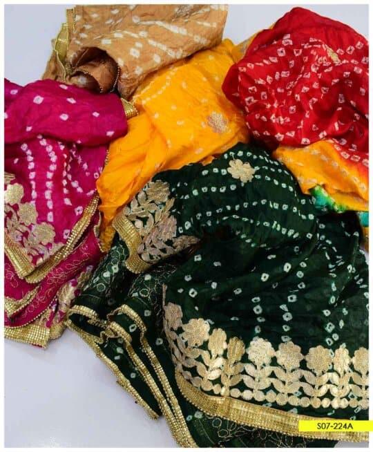 Cotton Silk Chunri Print Gotta Work Dupattas - S07-224A