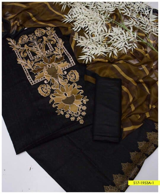 3 PC Premium 90-70 Printed Lawn Neck Embroidered Suits with Chiffon Dupatta - S17-1953A1