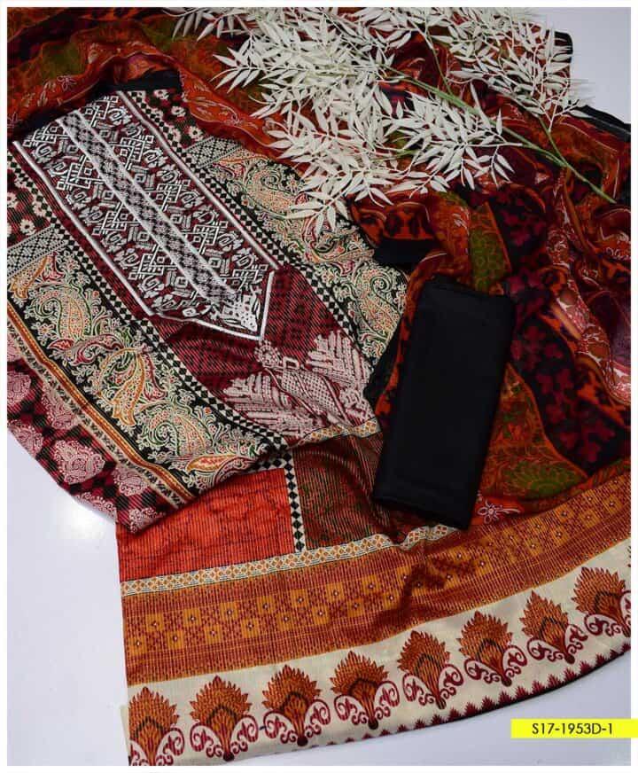 3 PCs Printed Masoori Lawn Digital Printed Neck Embroidery Suits with Chiffon Dupatta - S17-1953D1