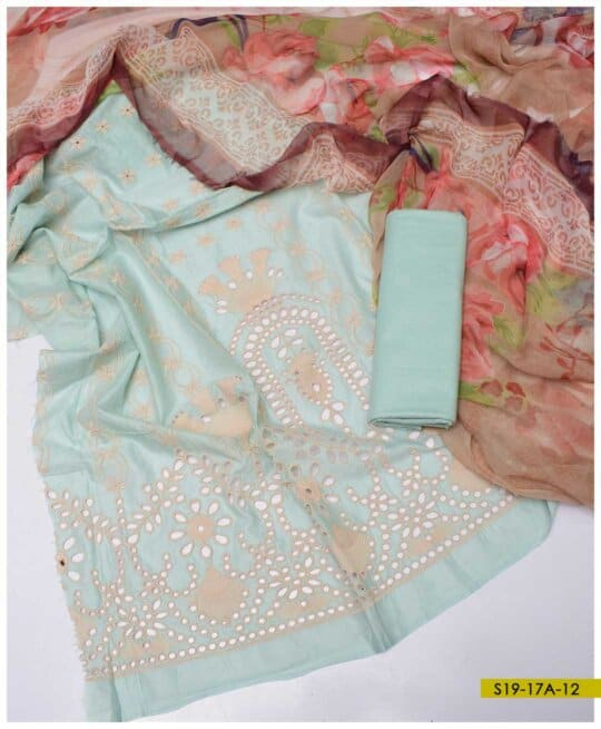 3 PC Pure Lawn Chikan Embroidered Suits With Chiffon Dupatta - S19-17A
