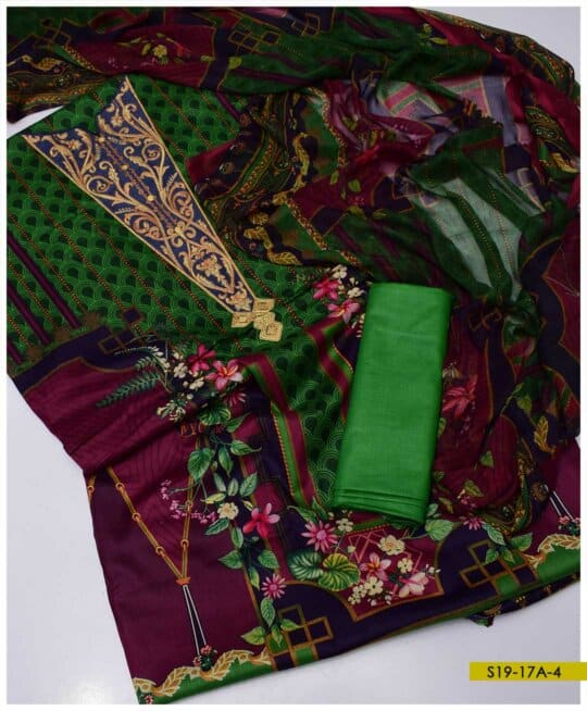 3 PC Printed Lawn Neck Embroidered Suits With Chiffon Dupatta - S19-17AC