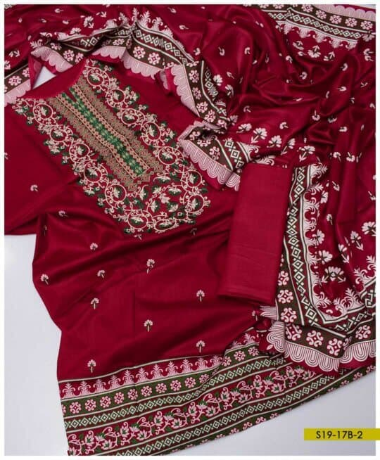 3 PC Printed Super Fine Quality Lawn Neck Embroidered Suits with Voil Dupatta - S19-17B