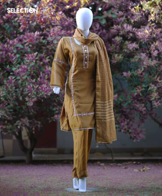 3 Pcs Stitched Indian Lawn Two Tone Shirt & Russian Silk Trouser With Cotton Net Dupatta and Resham Cotton Slip - S21-124A