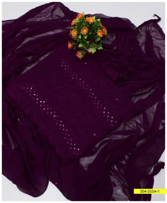 2 PCs Hand Embroidered Shadow Sheesha Work Chiffon Shirt and Dupatta - S04-255A