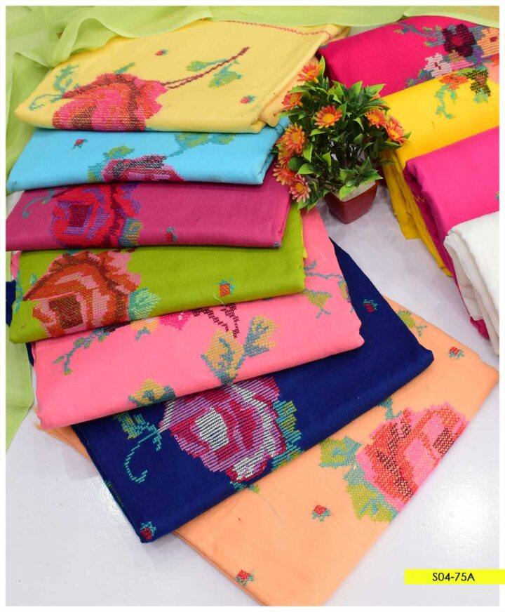 3 PCs Hand Embroidered Cross-Stitch Lawn Suits with Chiffon Dupatta - S04-75A