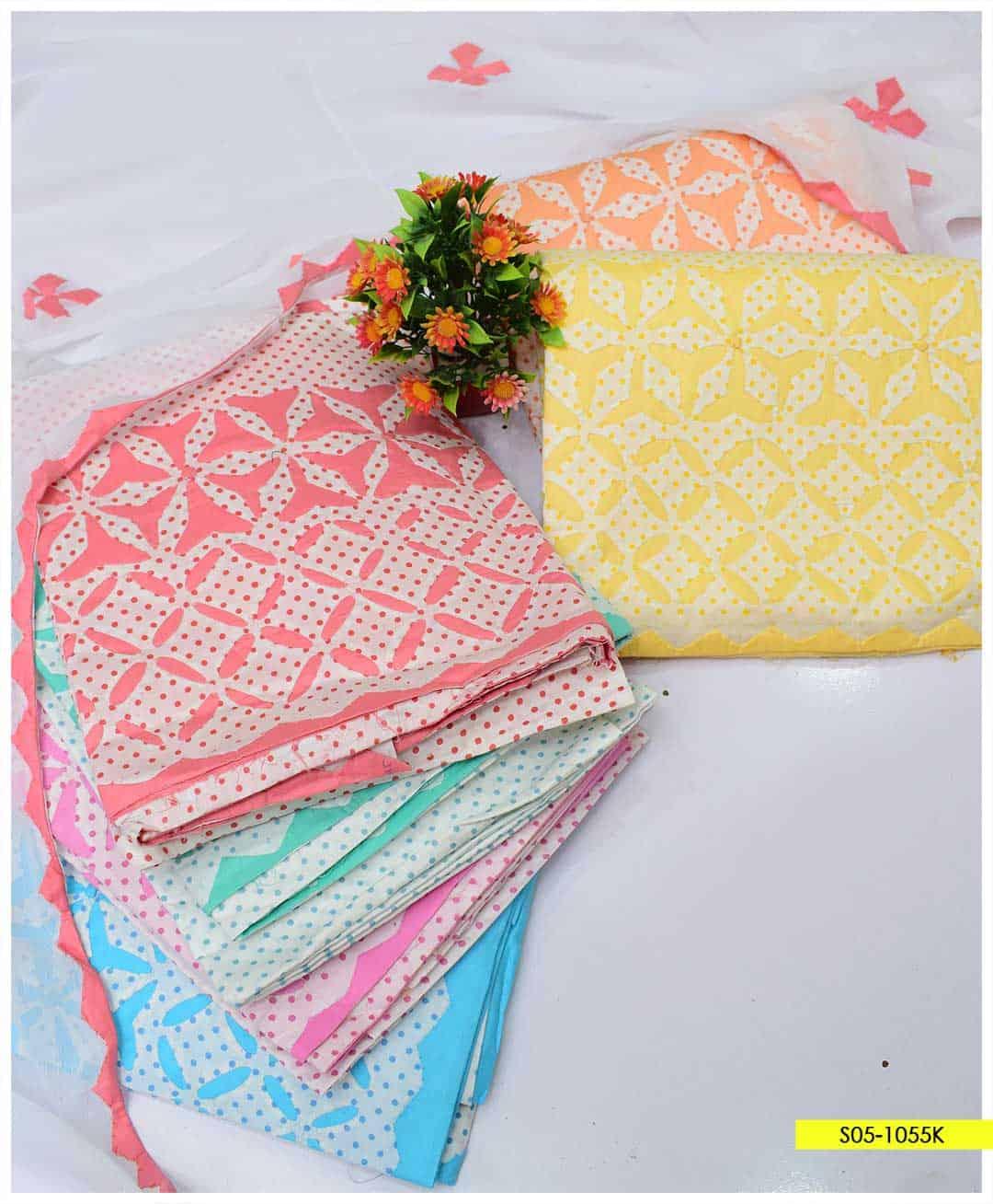 3 PCs Handmade Applique Work Cotton Lawn Suits with Chiffon Dupatta - S05-1055K