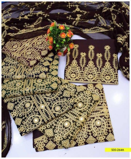 3 PCs Aari Embroidered Cotton Lawn Summer Unstitched Suits with Chiffon Dupatta - S05-264A