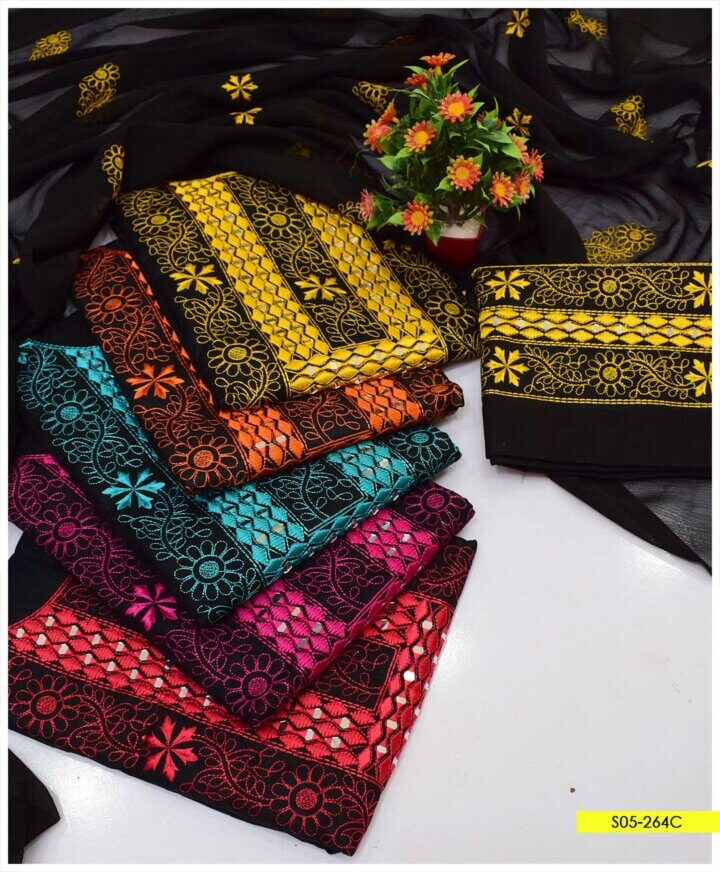 3 PCs Beautifully Machine Embroidered Cotton Lawn Summer Suits with Chiffon Dupatta - S05-264C