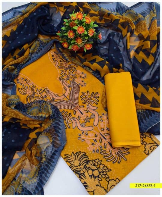 3 PCs Unstitched Printed Lawn Neck Embroidered Suits with Soft Chiffon Dupatta - S17-2467B