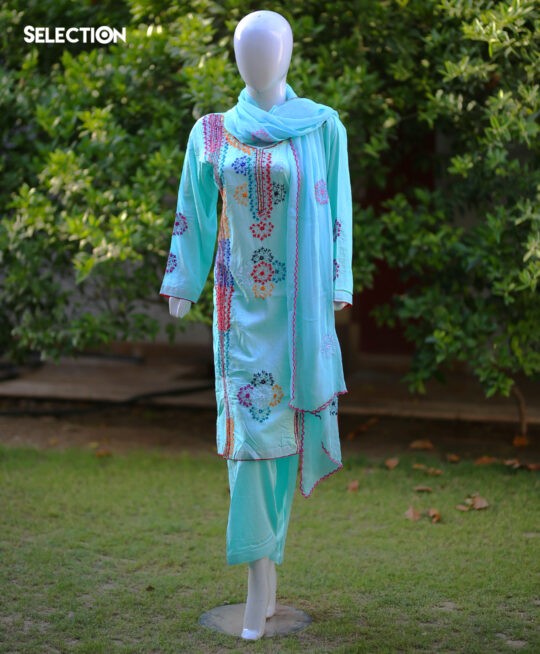 Selection's 3 PC Stitched Lawn Embroidered Shirt and Trouser With Chiffon Dupatta RTW-G