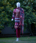 3 PC Stitched Printed Lawn Neck Embroidered Suit with Printed Chiffon Dupatta RTW-H