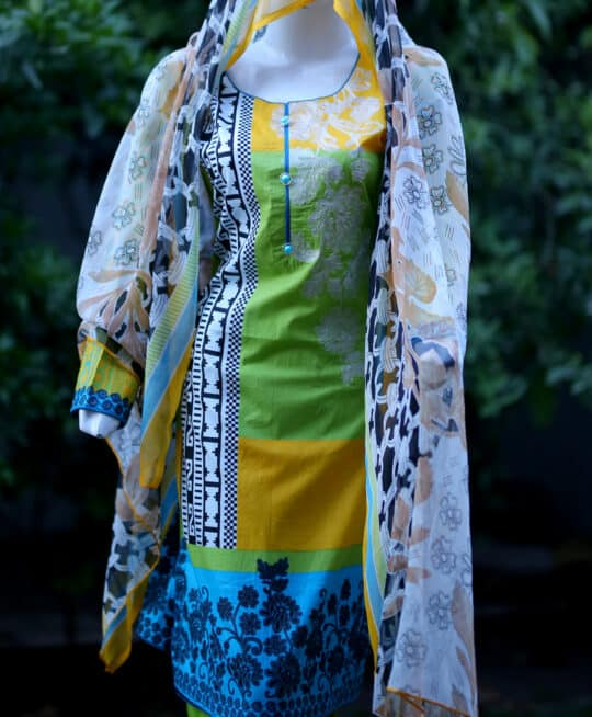 Selection's 3 PC Stitched Lawn Embroidered Shirt and Trouser With Chiffon Dupatta RTW-I
