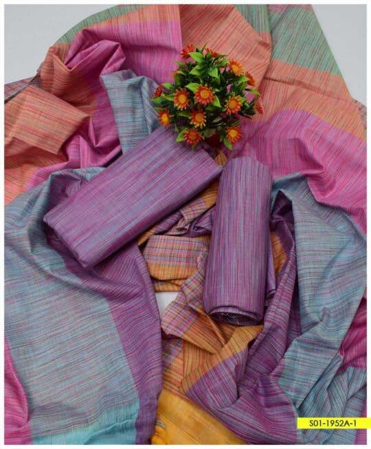 3 PCs Plain Khadi Cotton Summer Unstitched Suits - S01-1952A