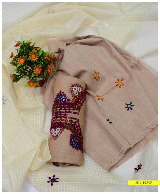3 PCs Unstitched Hand Embroidered Sindhi Work Summer Khadi Cotton Suits with Cotton Net Dupatta