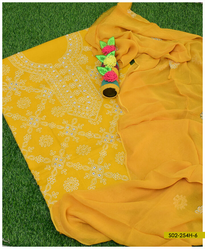 Hand Embroidered Lawn 3 PCs Shadow Sheesha Work Suits With Chiffon Dupatta - S02-254H6