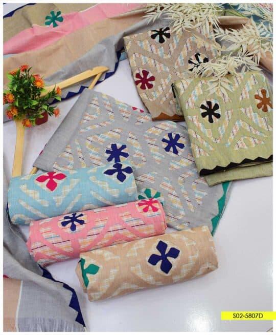 3 PCs Summer Cotton Khaddar Handmade Applique Work Suits - S02-5807D