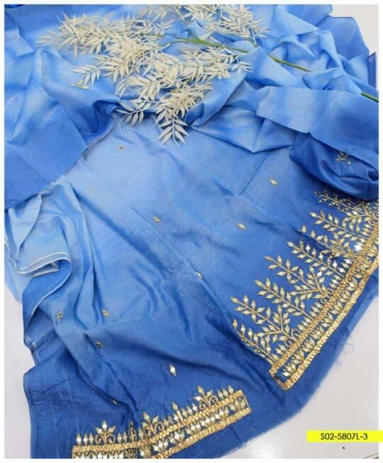 2 PCs Paper Cotton Sheesha Work Shirt and Dupatta - S02-5807L3