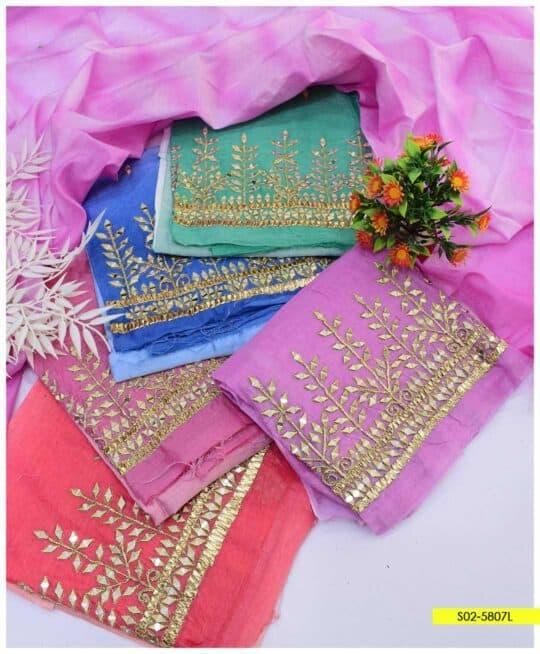 2 PCs Paper Cotton Sheesha Work Shirt and Dupatta - S02-5807L
