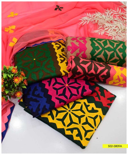 3 PCs Handmade Applique Cotton Lawn Summer Suits with Chiffon Dupatta - S02-5809A