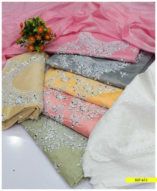3 PCs Paper Cotton Sheesha Work Fancy Unstitched Suits With Chikan Trouser - S07-67J