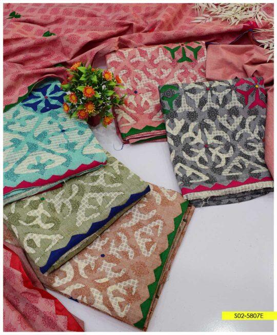 3 PCs Handmade Applique Work Khadi Cotton Summer Suits - S02-5807E
