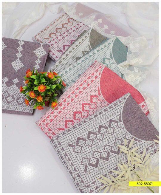 3 PCs Machine Embroidered Cotton Khaddar Summer Suits with Chiffon Dupatta - S02-5807I