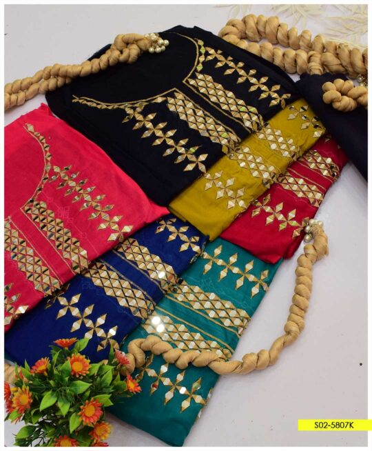3 PCs Lawn Sheesha Work Embroidered Suits with Masoori Dupatta - S02-5807K