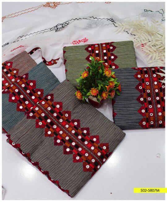 3 PCs Cotton Khaddar Aari Embroidered Suits with Chiffon Dupatta - S02-5807M