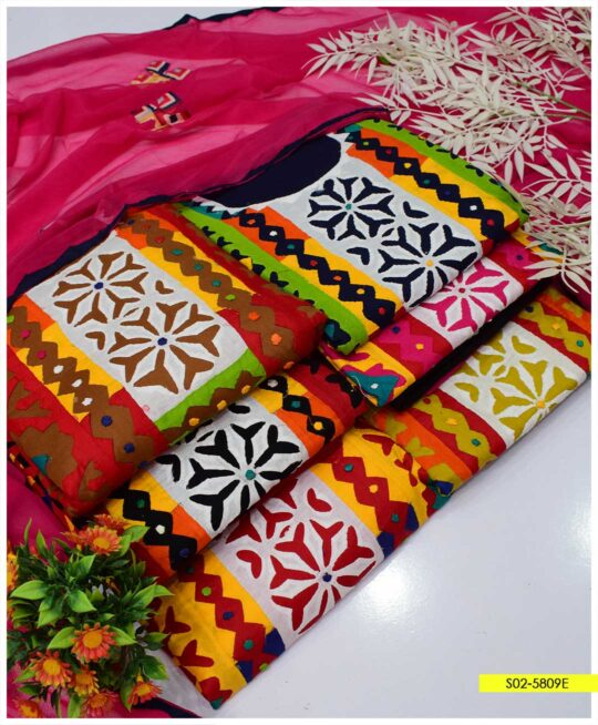 3 PCs Handmade Applique Work Lawn Summer Suits with Shiffon Dupatta - S02-5809E