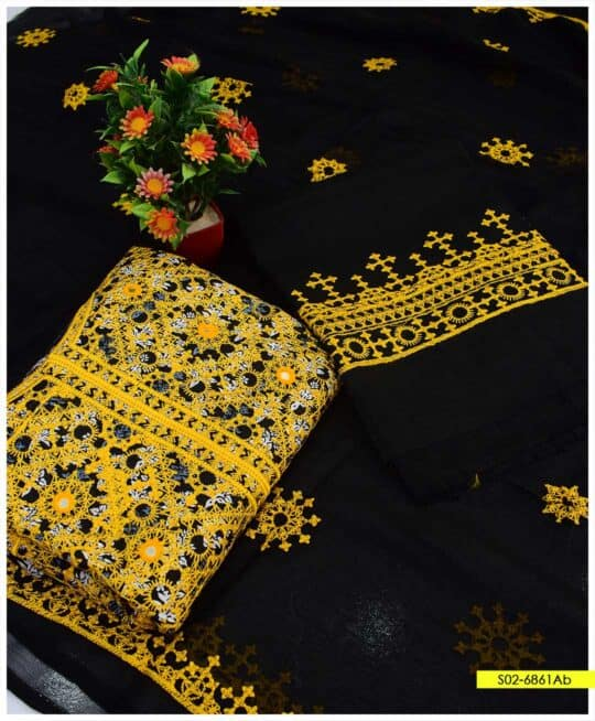 3 PCs Printed Lawn Embroidered Suits with Chiffon Dupatta - S02-6861Ab