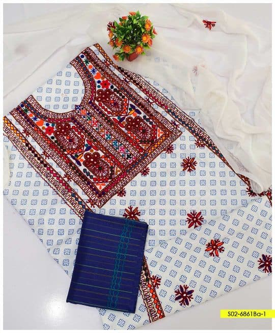 3 PCs Printed Lawn Unstitched Sindhi Embroidery Suits with Chiffon Dupatta - S02-6861Ba1