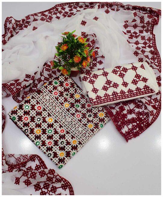3 PCs Ajrak Embroidered Lawn Suit with Chiffon Dupatta -S04-87A