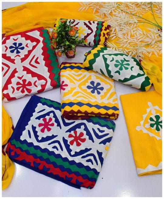 3 PCs Handmade Applique Work Unstitched Cotton Lawn Summer Suits with Chiffon Dupatta - S04-87B