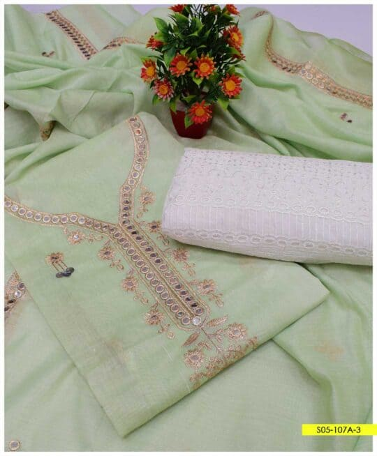 3 PCs Fancy Embroidered Paper Cotton Suits for Women - S05-107A