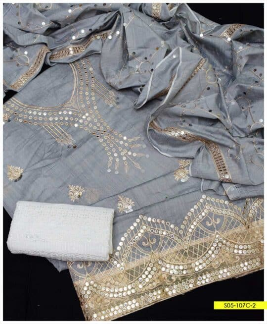 3 PCs Fancy Paper Cotton Embroidered Suits with Chikan Trouser- S05-107C