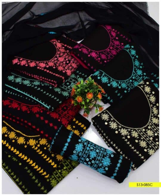 3 PCs Hand Embroidered Unstitched Banarsi Work Suits with Chiffon Dupatta - S13-085C
