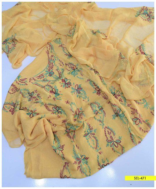 2 PC Chiffon Hand Embroidered Shirt and Dupatta - SEL-471