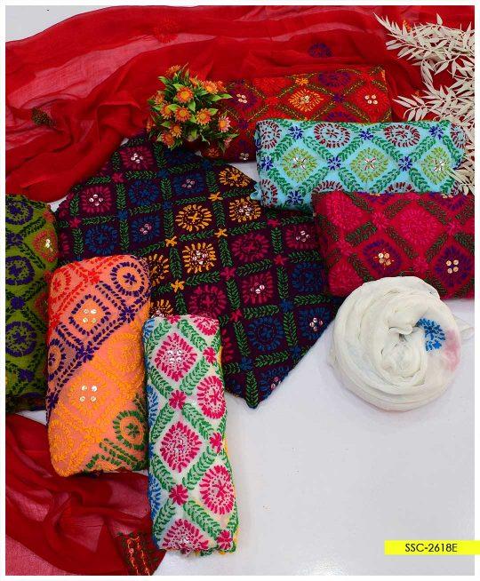2 PC Chiffon Phulkari Work Hand Embroidered Shirt and Dupatta - SSC-2618E