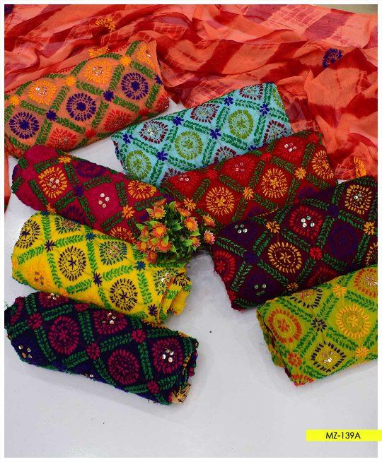 Chiffon Phulkari Work Shirt with Tie and Dye Dupatta - MZ-139A