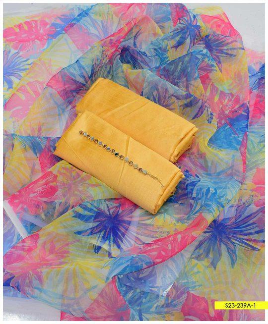 Pure Raw Silk Shirt and Trouser with Organza Digital Printed Dupatta - S23-239A