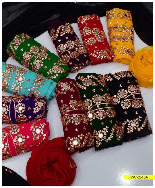 Chiffon 2 PC Gotta Embroidery Shirt and Dupatta - SSC-2618A