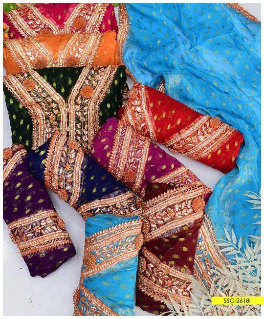 Bindi Chiffon 2 PC Hand Embroidered Gotta Work Shirt and Dupatta - SSC-2618I