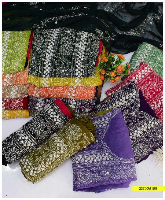 Chiffon Shadow Sheesha Gala Multi Color Hand Embroidered Shirt and Dupatta - SSC-2618B
